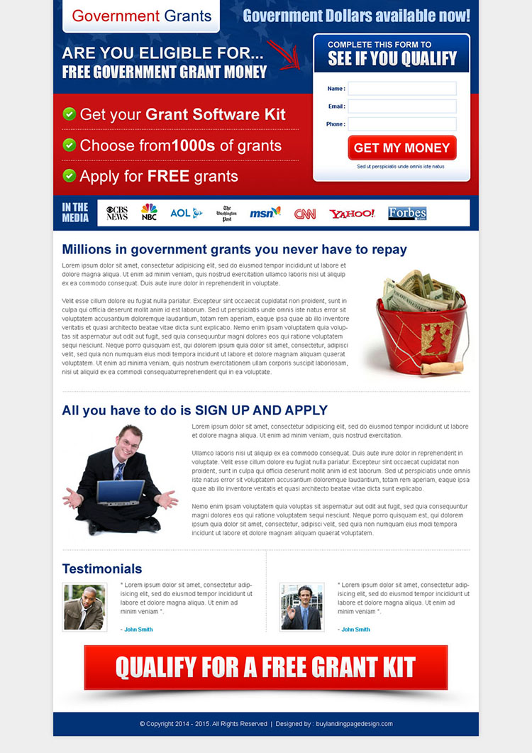 free government grant money small lead capture landing page template