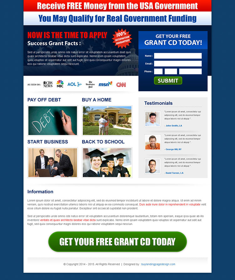 receive free money from the usa government squeeze page design