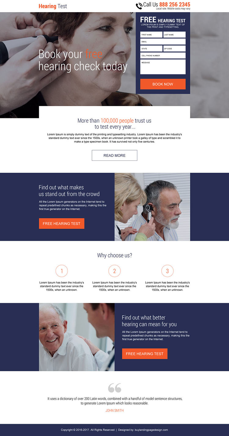 free hearing test online free quote responsive landing page