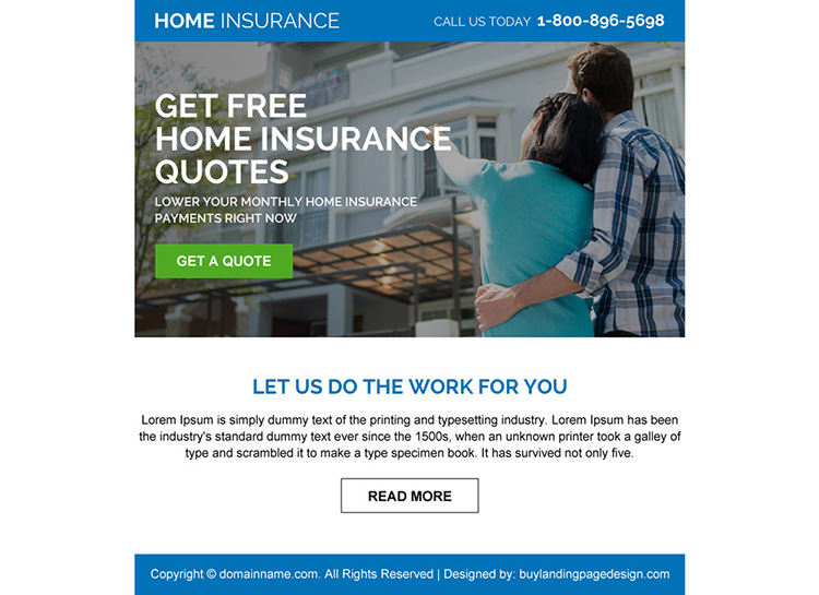 home insurance free quote call to action ppv design