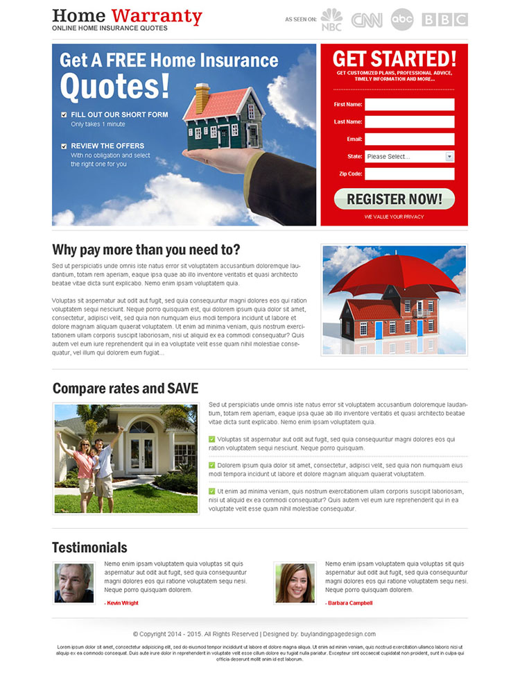 free home insurance quote lead capture most converting landing page design