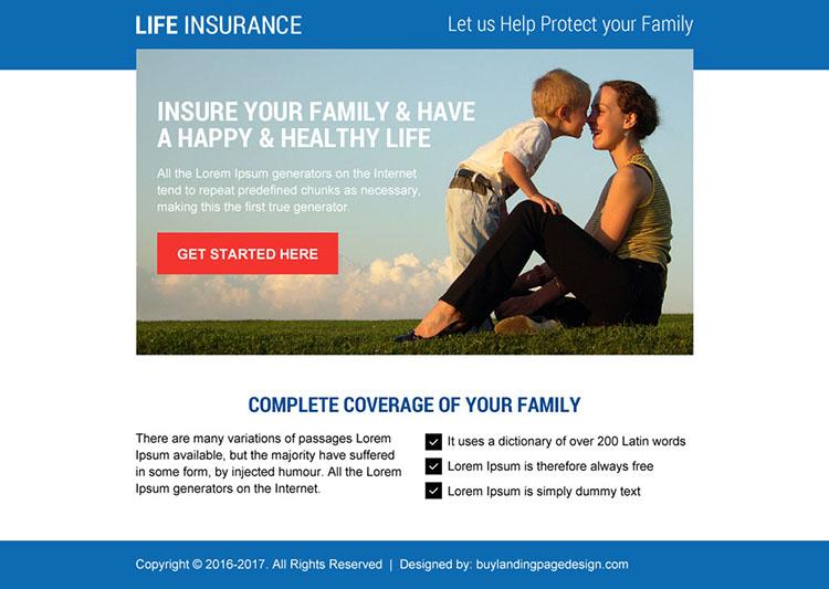 life insurance cta ppv landing page design