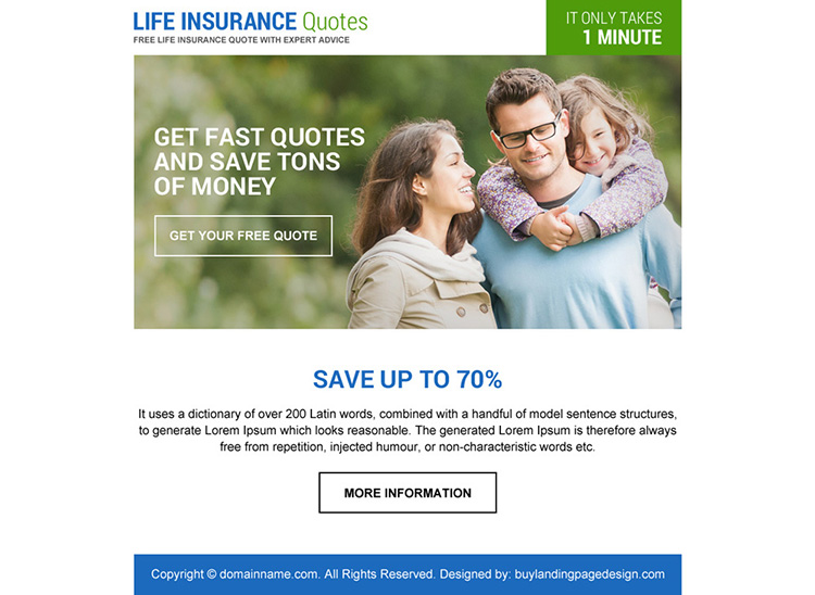 life insurance quotes ppv landing page design