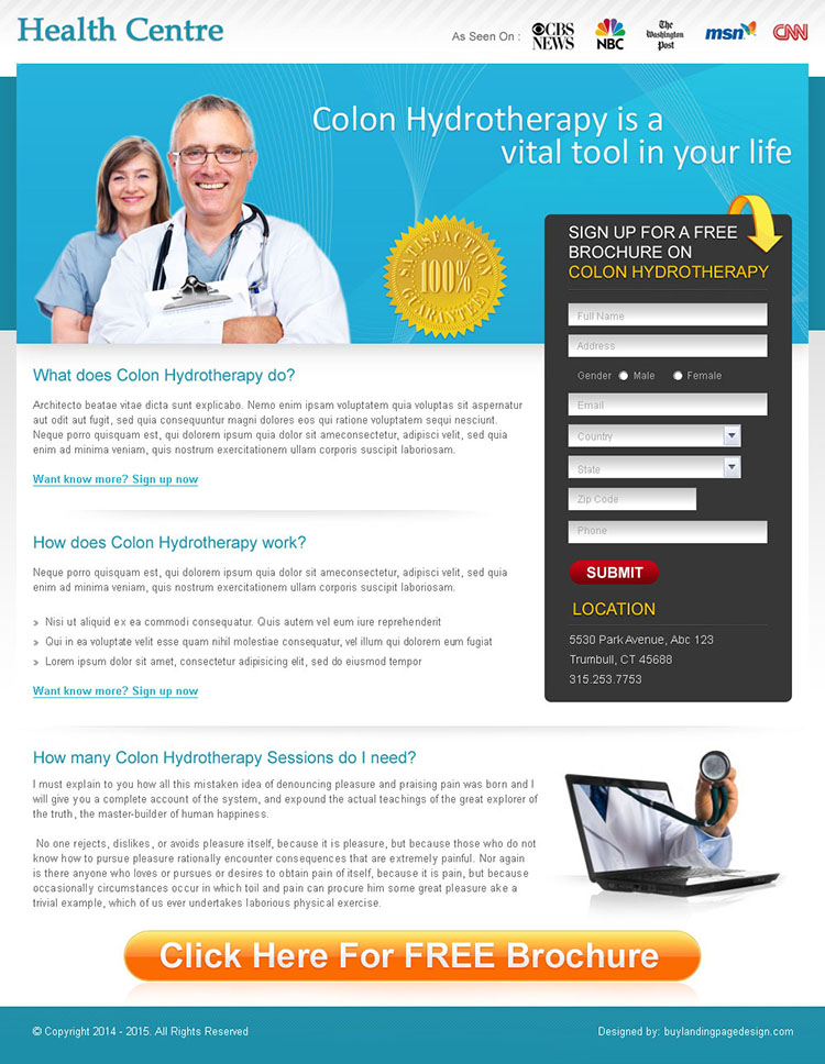 free medical brochure lead capture landing page design for sale