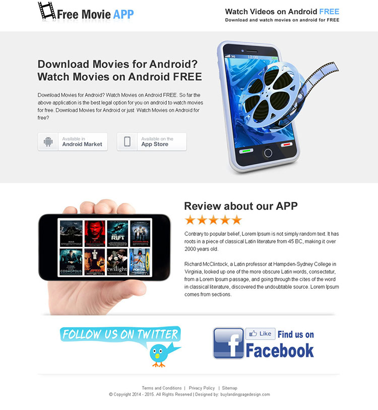 movie download free app responsive landing page design templates