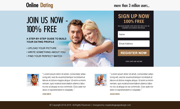 free online dating sign up ppv landing page design