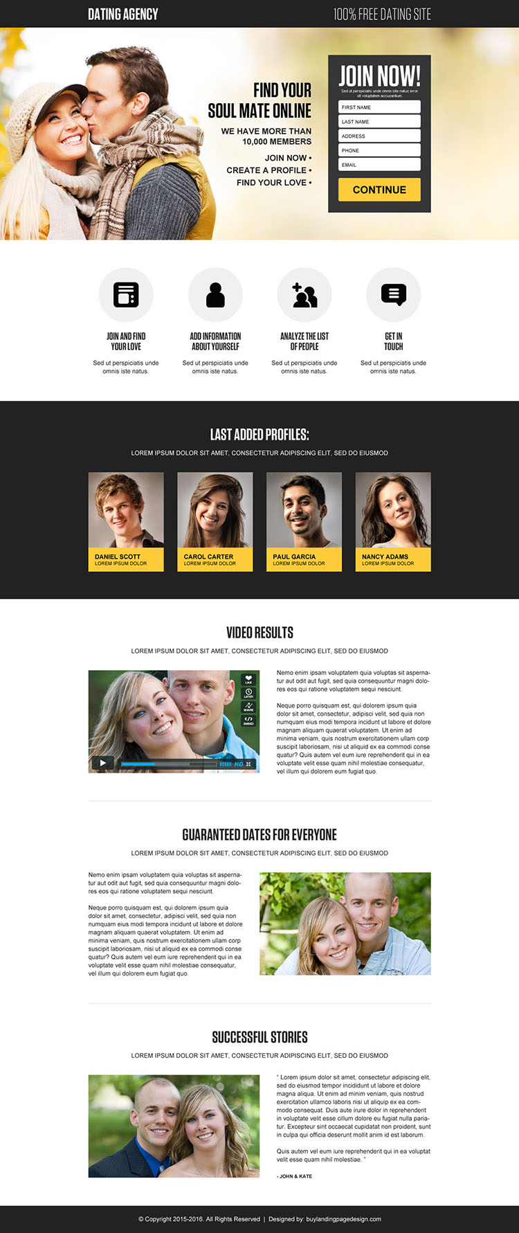 free dating site lead gen landing page design