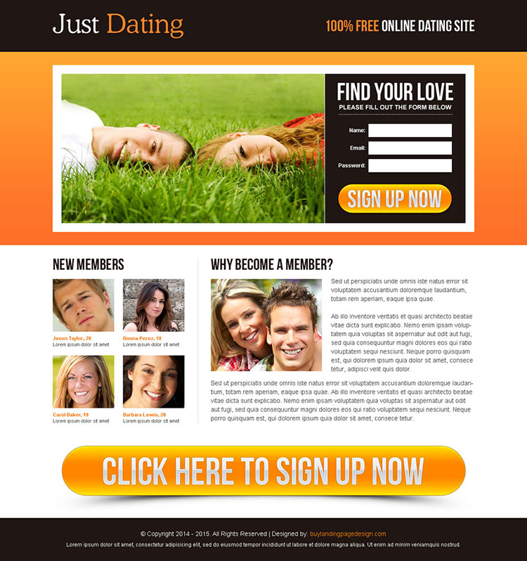 free online dating site lead capture lander design