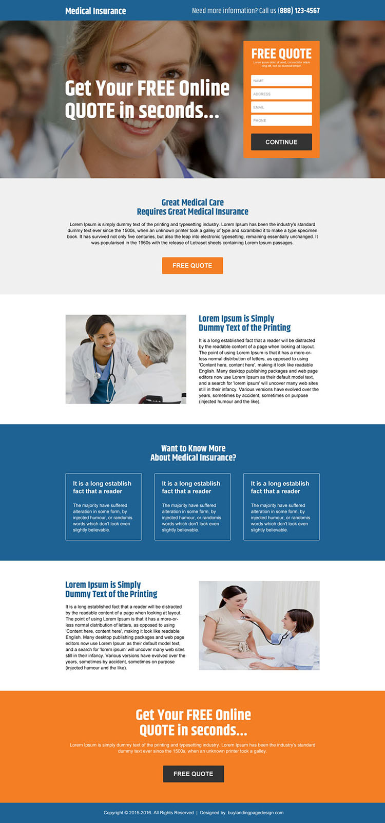 free online medical insurance quote premium landing page design