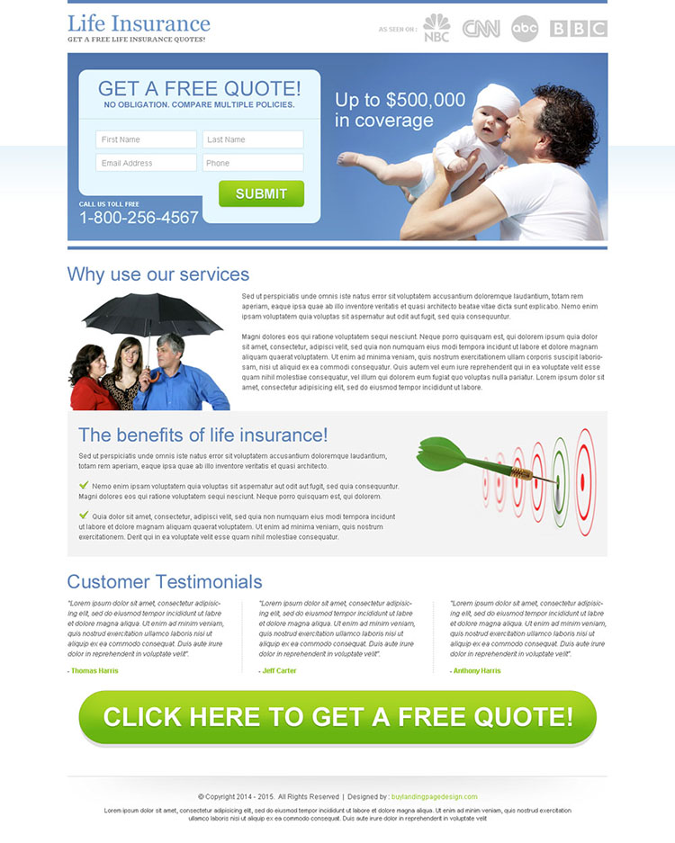 clean life insurance lead capture squeeze page design