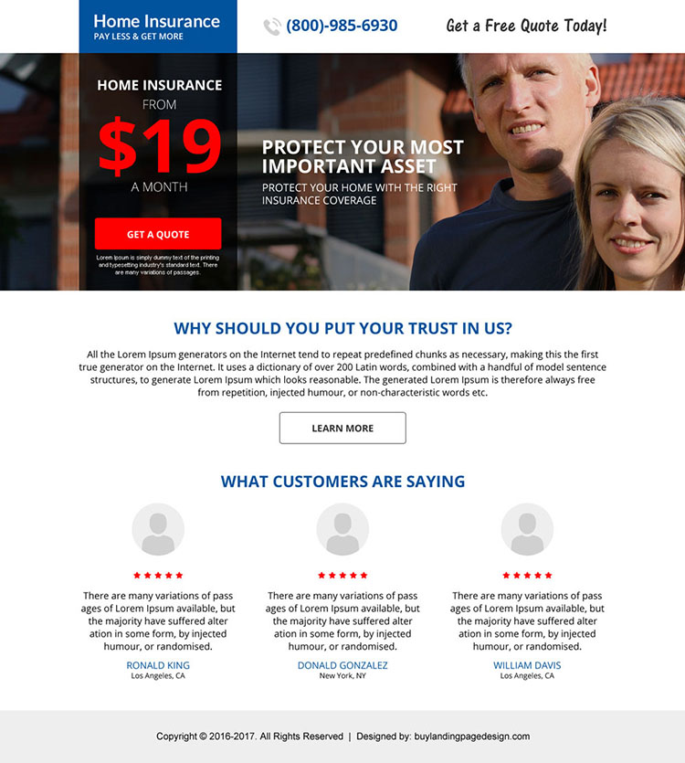 home insurance mini call to action landing page