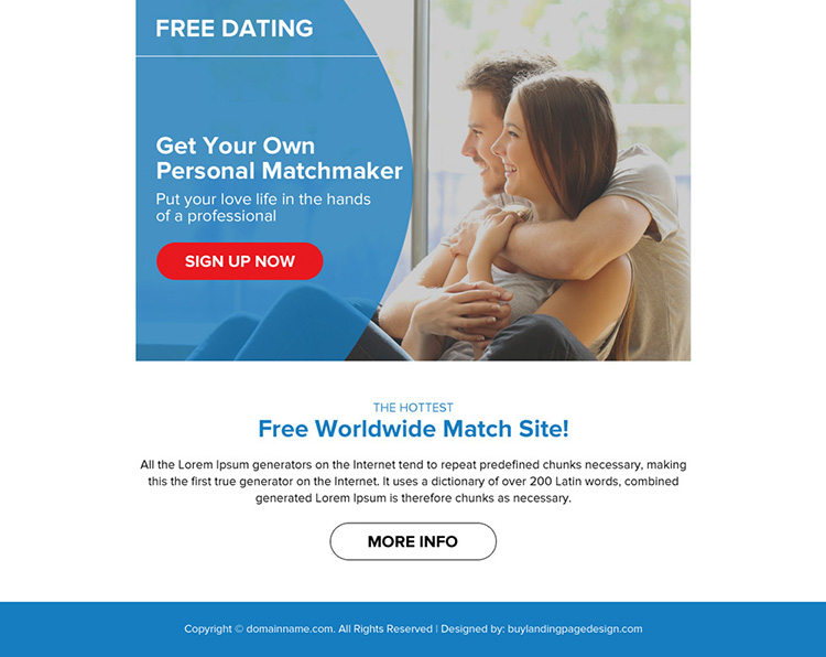 free dating sign up lead capturing ppv landing page design