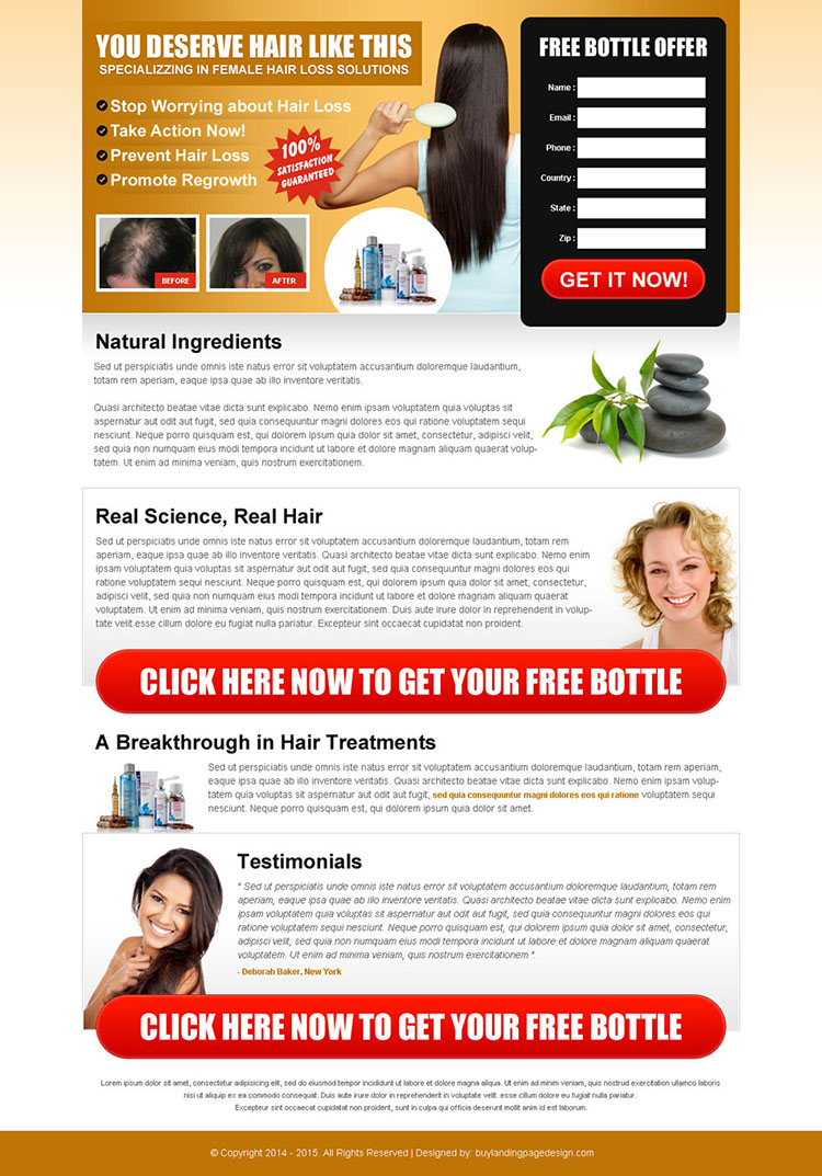 stop worrying about hair loss free trial lead capture landing page design