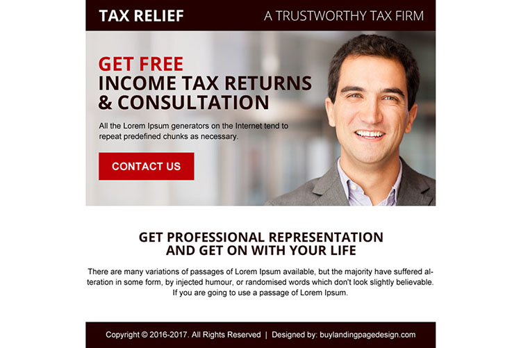 tax free consultation ppv landing page design
