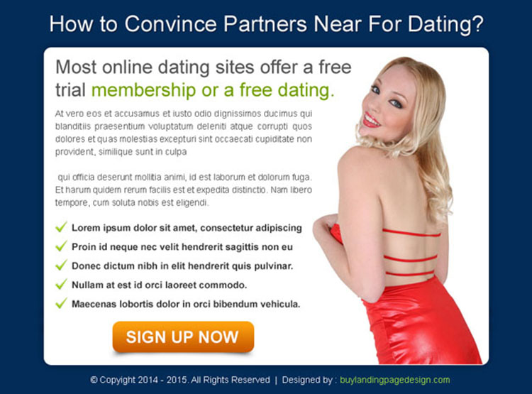dating website sign up ppv landing page design template