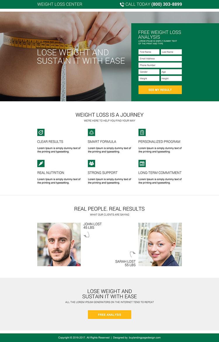 free weight loss analysis landing page design