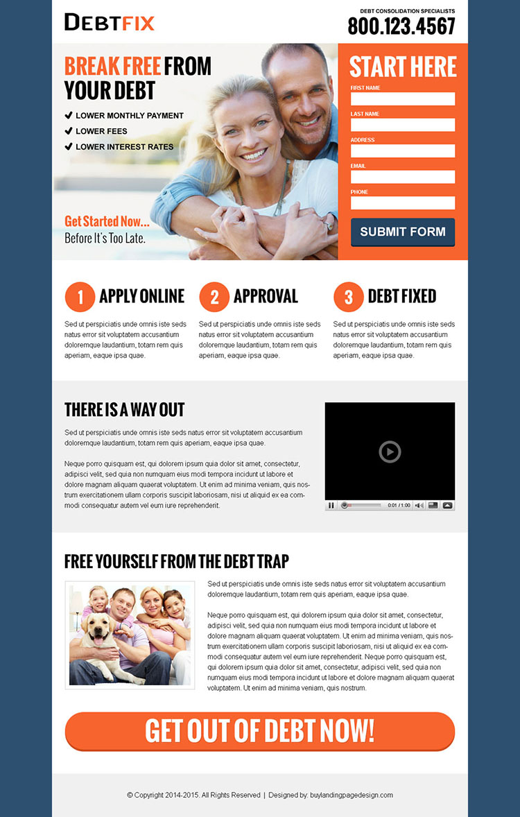 free yourself from debt business service lead capture landing page design templates to boost your debt business leads