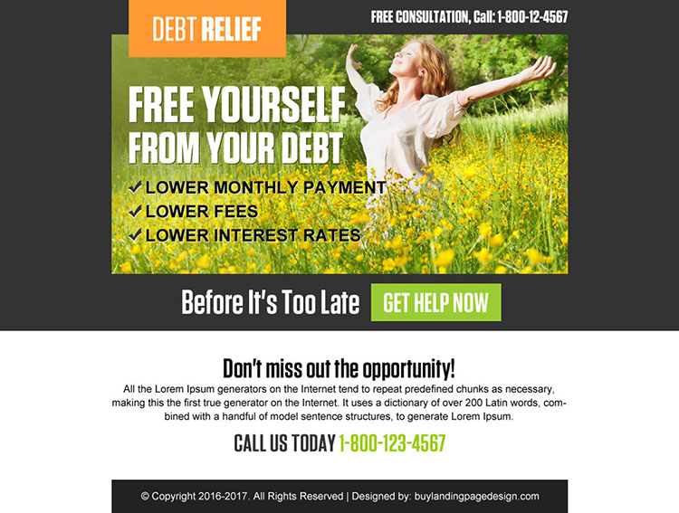 free yourself from debt ppv landing page design