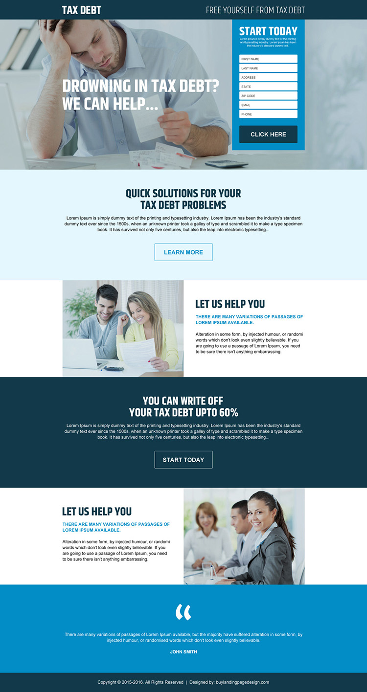 free yourself from tax debt lead generating landing page design
