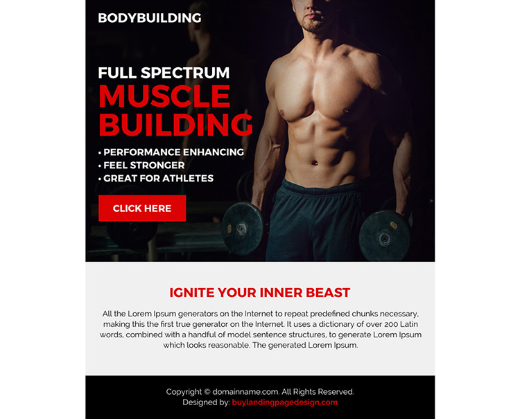 clean and professional muscle building ppv landing page design