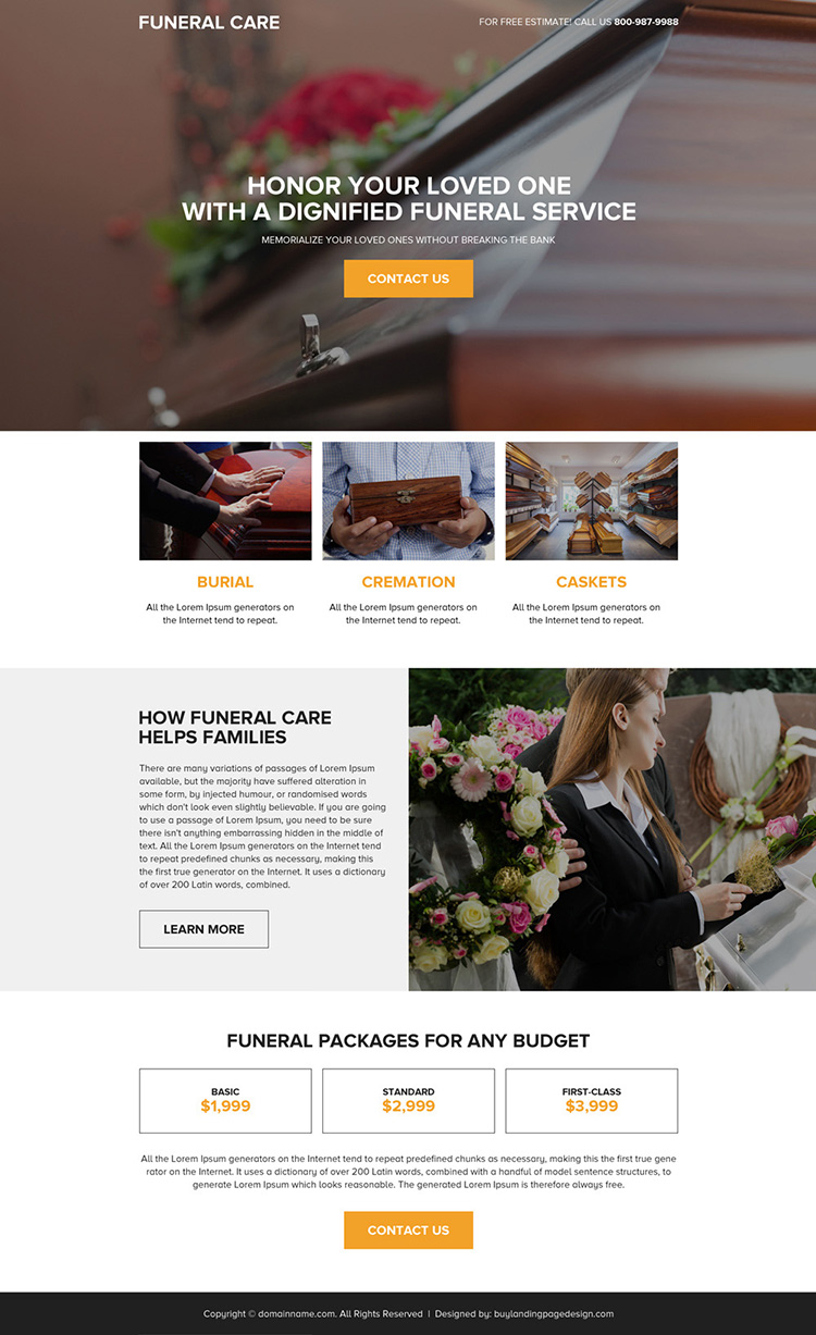 funeral insurance service responsive landing page design
