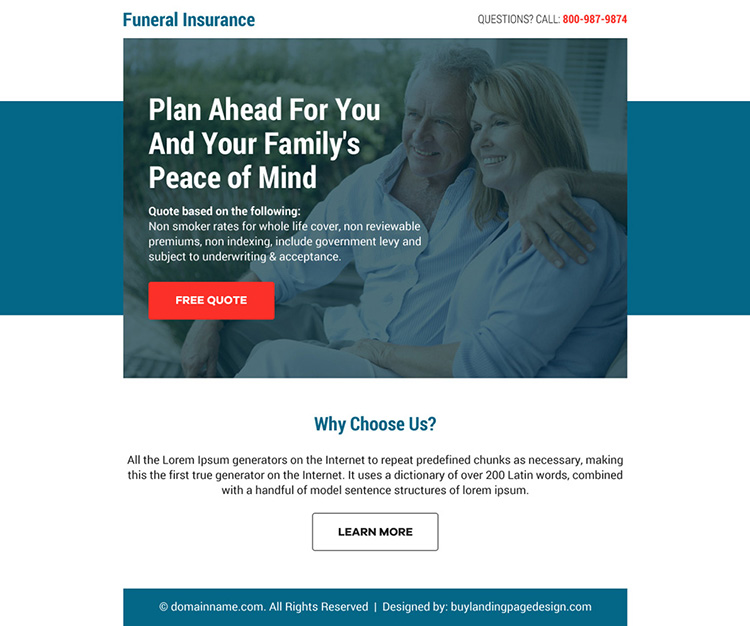 funeral insurance free quote call to action ppv landing page