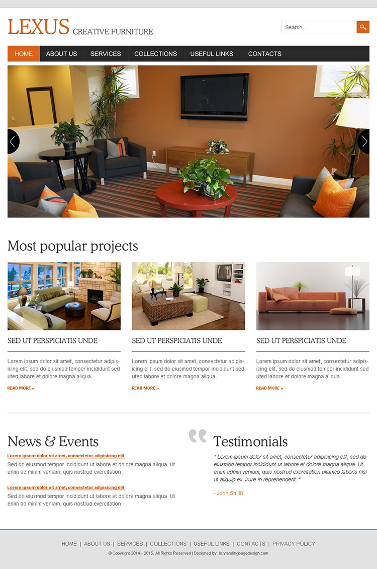 interior and furniture responsive website design template