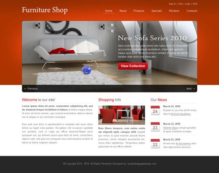simple furniture shop website template design psd