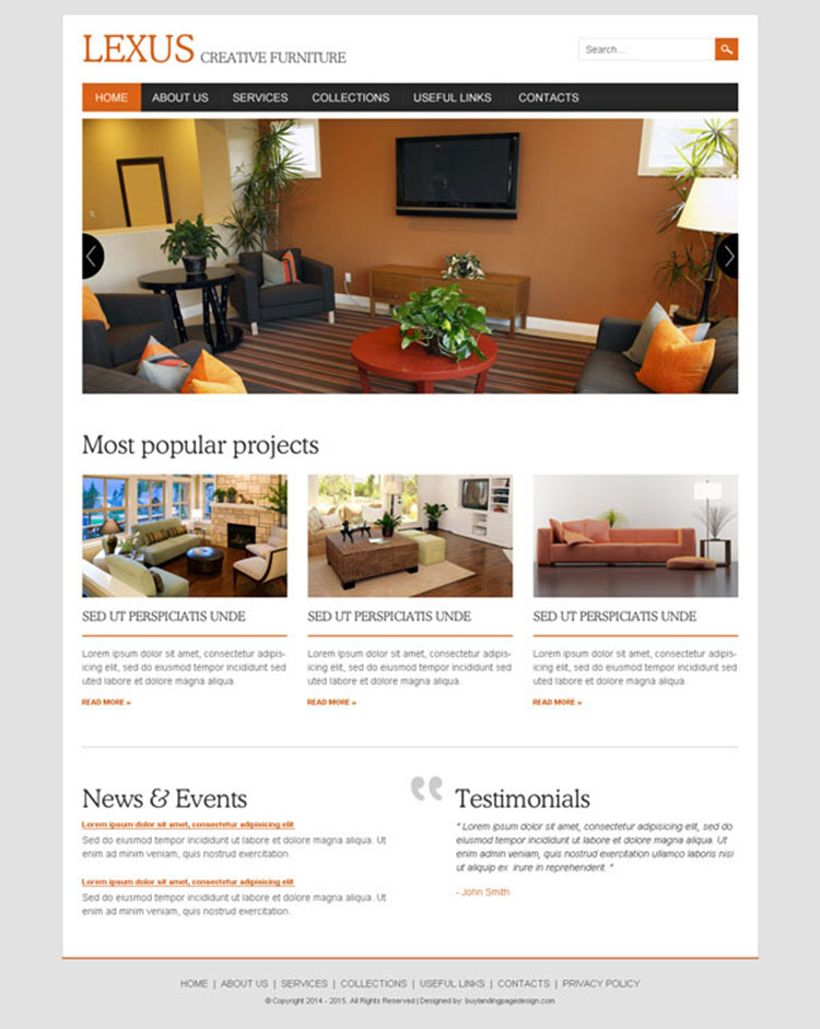 creative furniture clean and attractive website template design psd