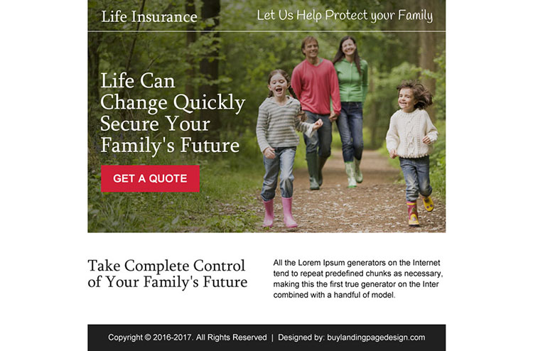 secure your family future ppv landing page design