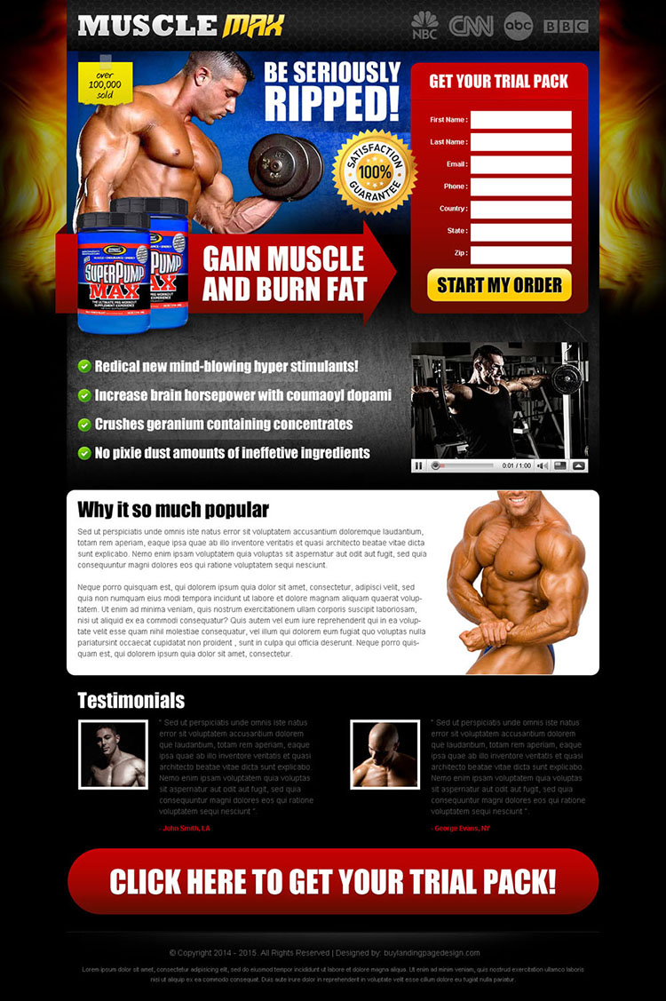 be seriously ripped and burn fat faster with our body building product effective and converting landing page design