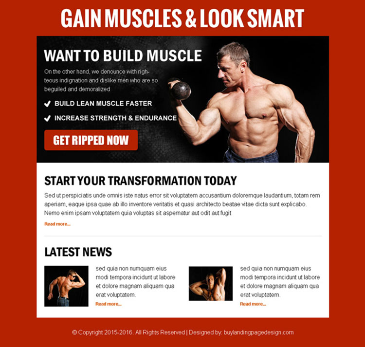 gain muscles look smart call to action ppv landing page design