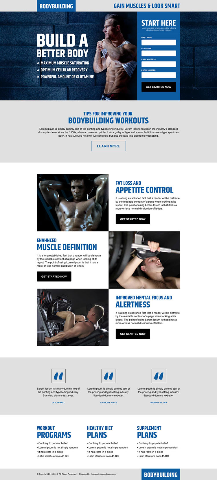 gain muscles look smart lead gen landing page design