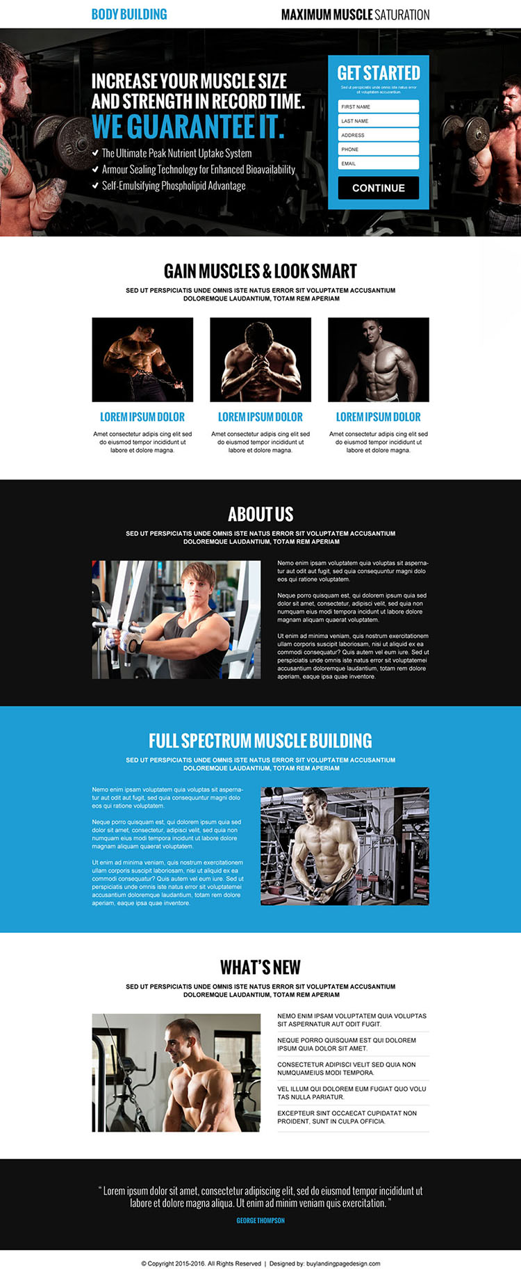 gain muscles look smart lead generating landing page design