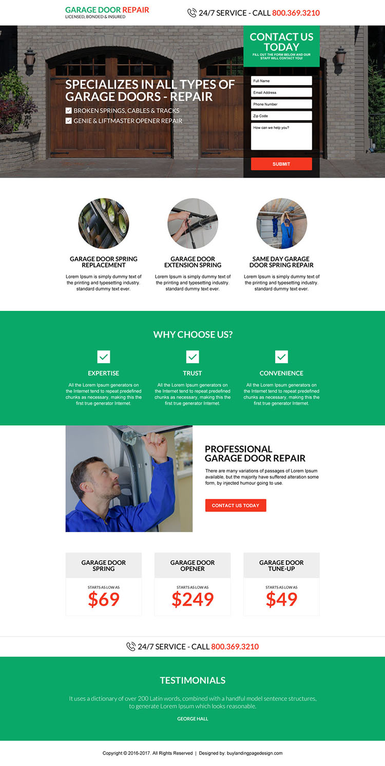 responsive garage door repair service landing page design