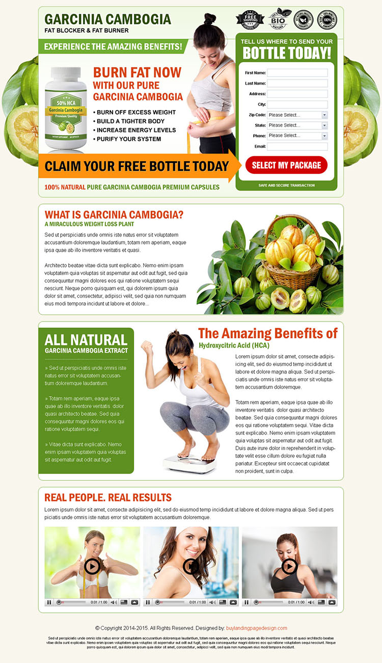 garcinia cambogia fat blocker and fat burner high converting landing page design