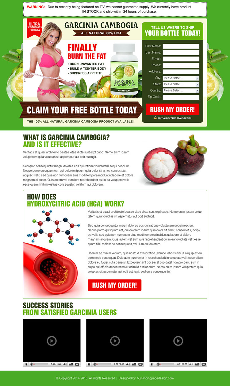 garcinia cambogia product free trial lead capture squeeze page design