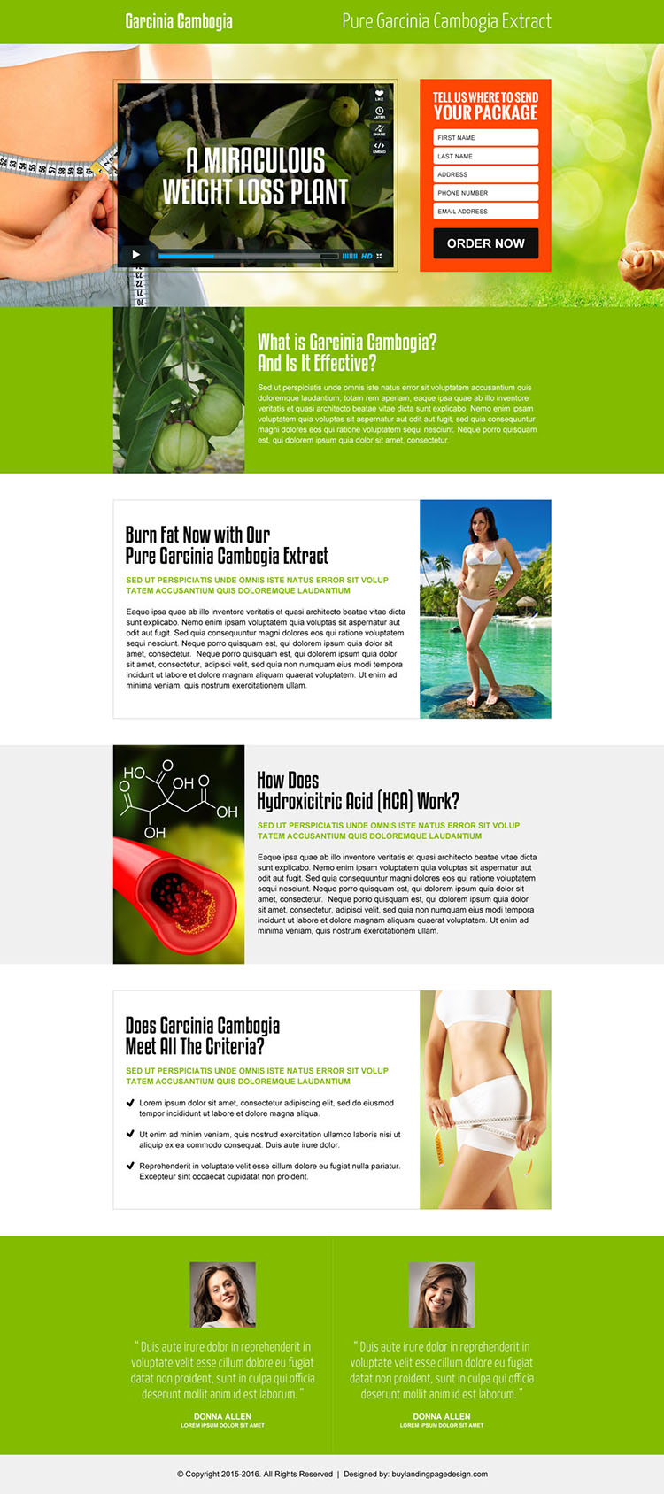 garcinia cambogia lead generating video landing page design template