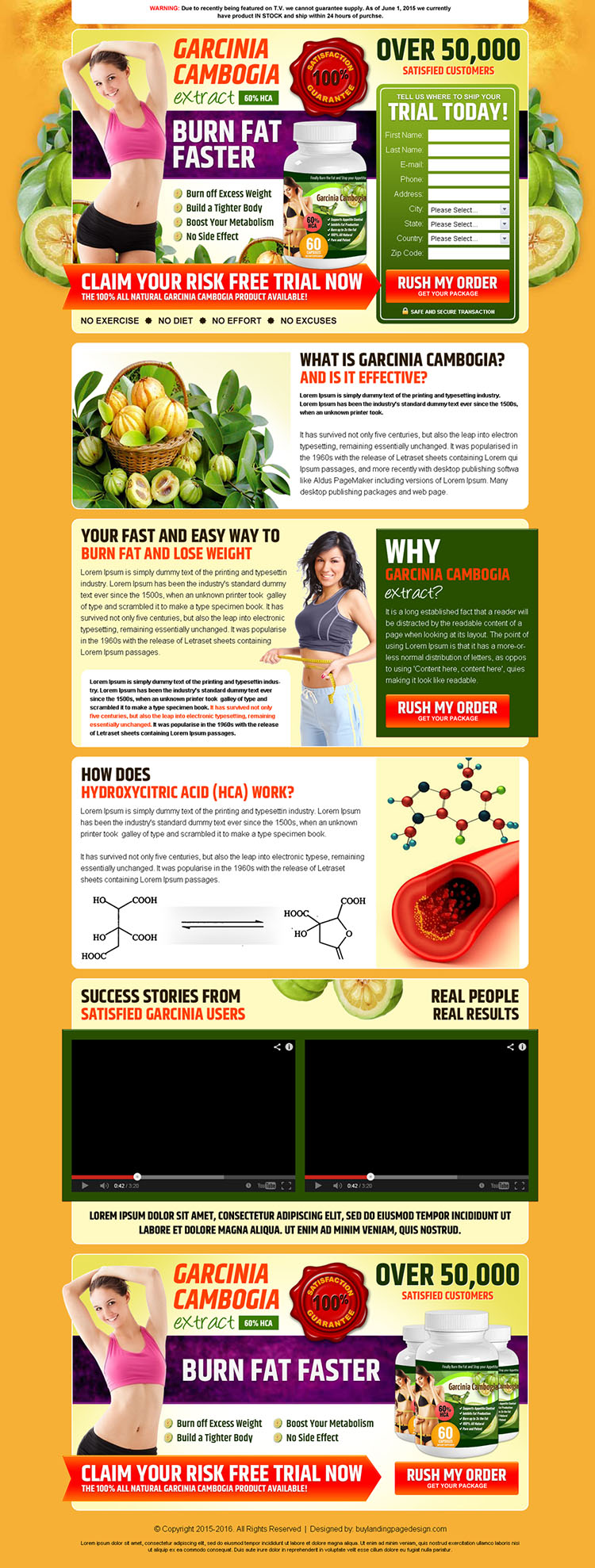 garcinia cambogia risk free trial product selling best converting landing page design