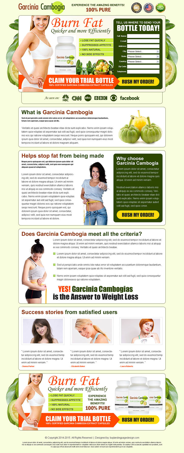 garcinia cambogia burn fat quickly and efficiently trial bottle lead gen page