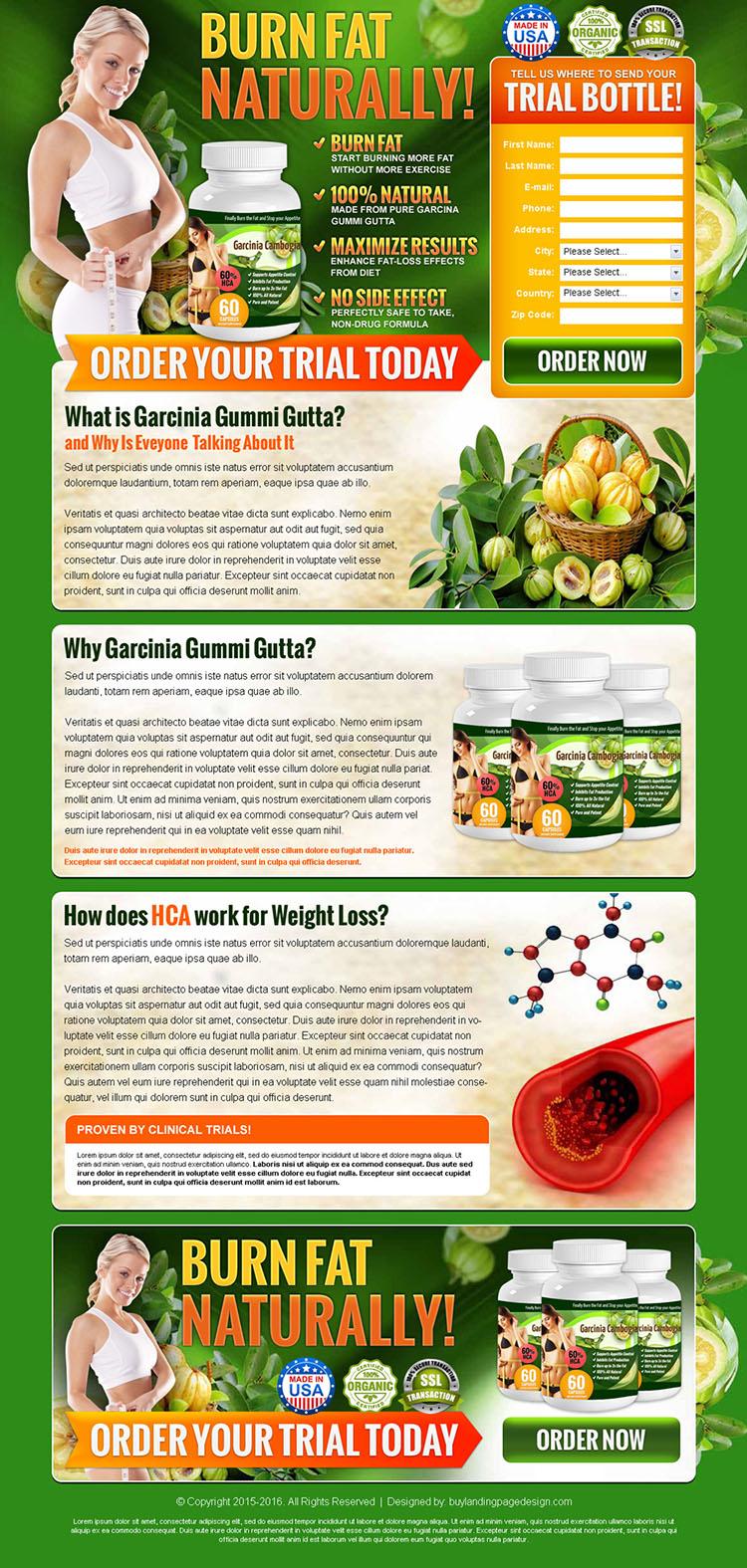 garcinia gummi gutta product selling converting lead gen landing page