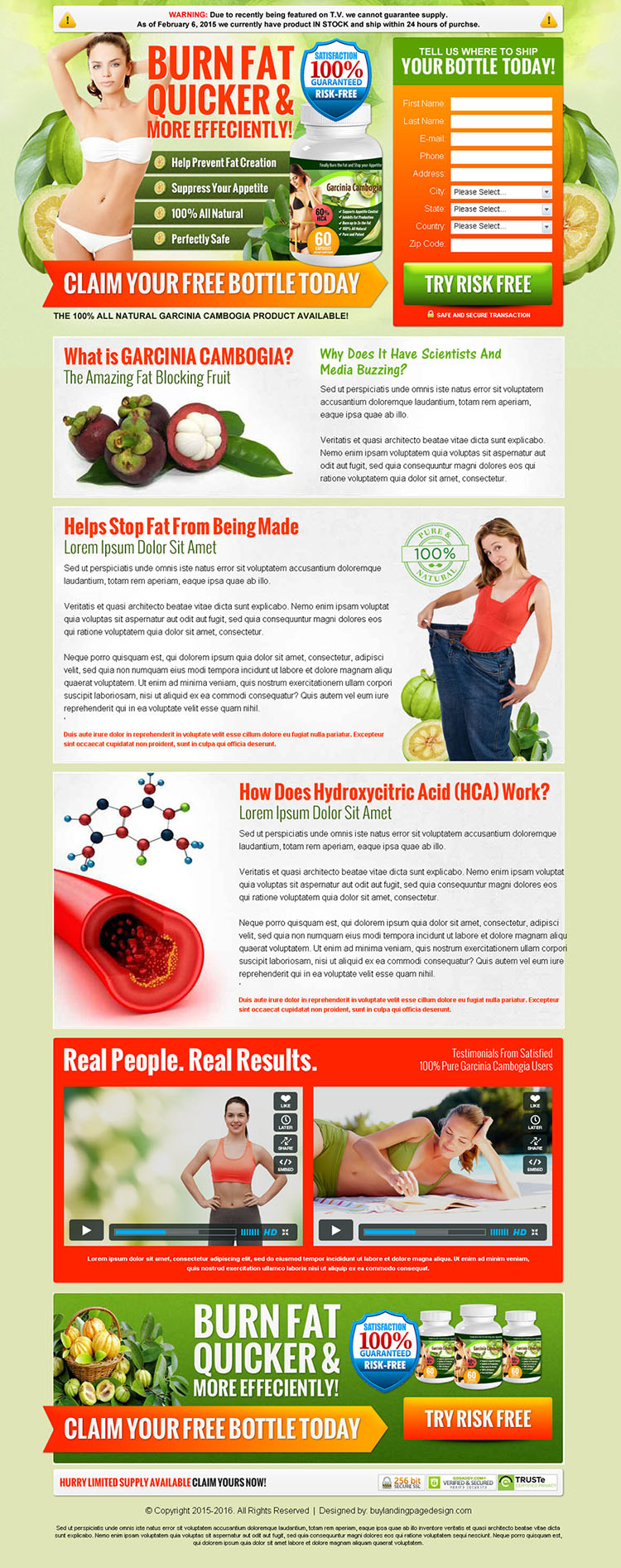 garcinia gummi gutta effective weight loss product landing page design