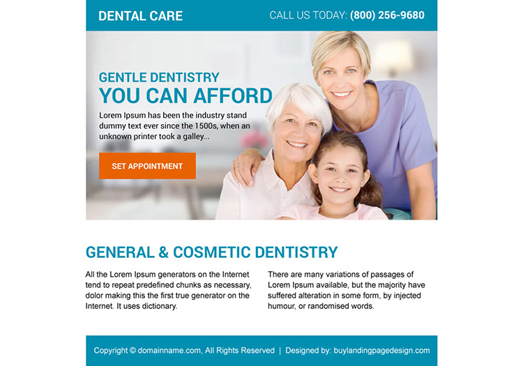general and cosmetic dentistry ppv landing page design