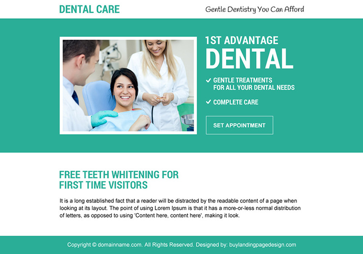 free teeth whitening appointment booking ppv landing page design