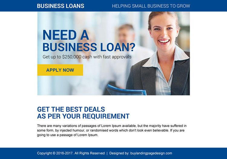 business loan online application ppv landing page design