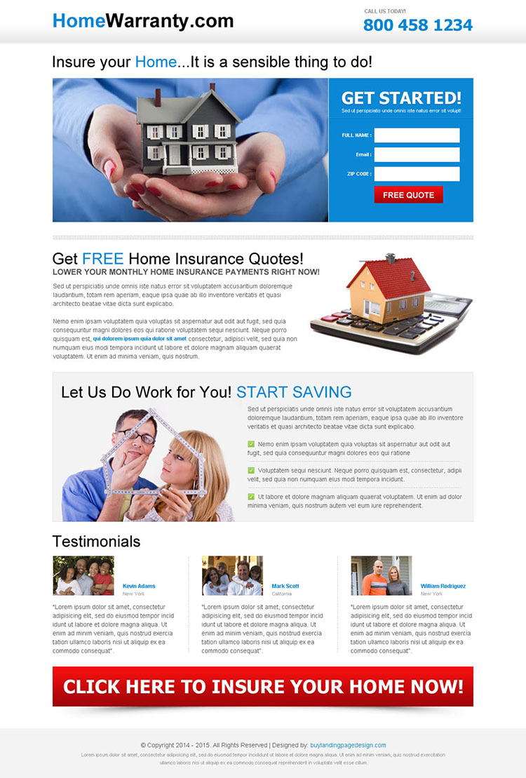 free home insurance responsive landing page design