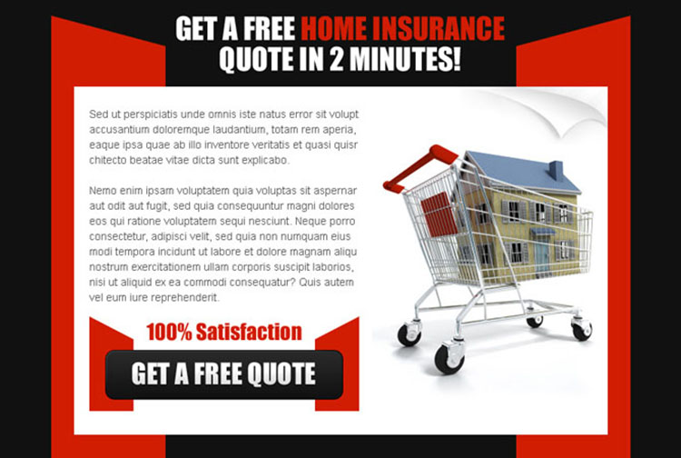 get a free home insurance quote in 2 minutes effective ppv landing page design