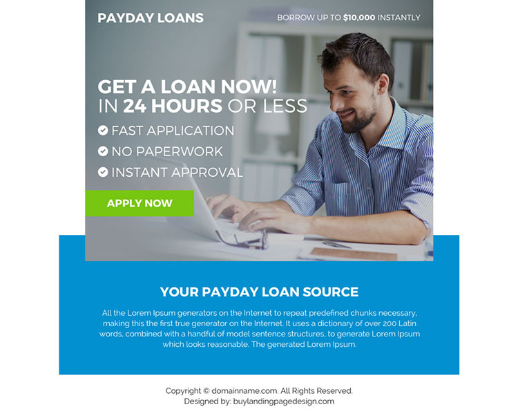 payday loan lender ppv landing page design