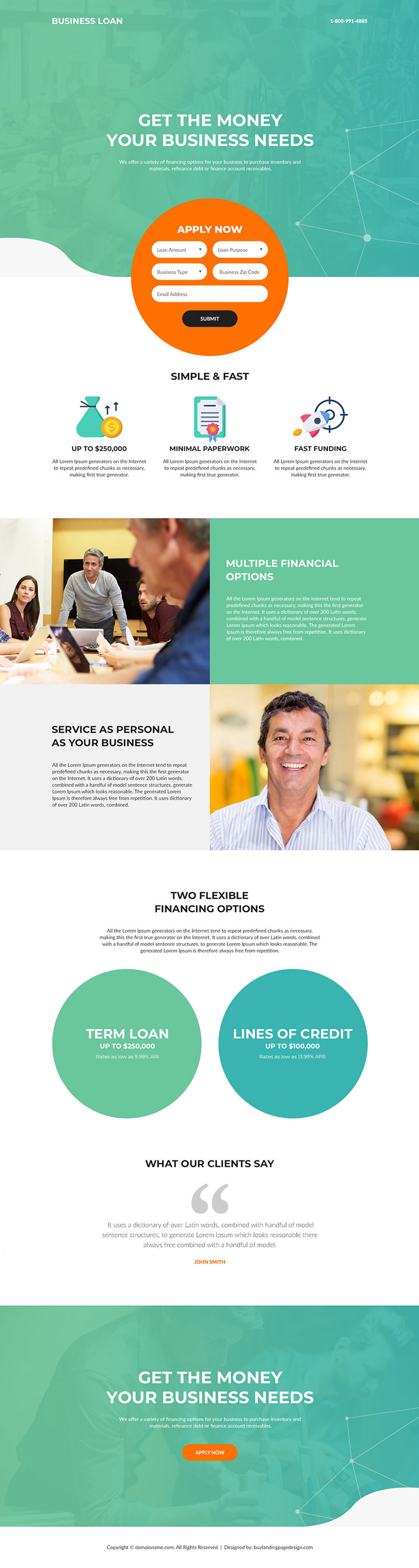 small business financing modern landing page design