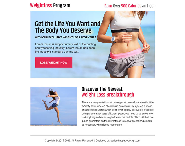 get body you deserve weight loss ppv landing page design